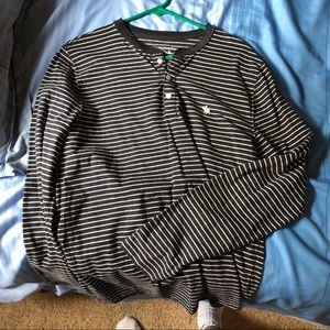 A&F long sleeve striped Henley